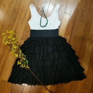 Small black and white ruffled dress